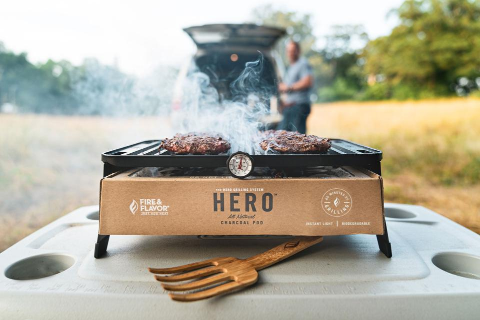 portable grill with biodegradable charcoal pod