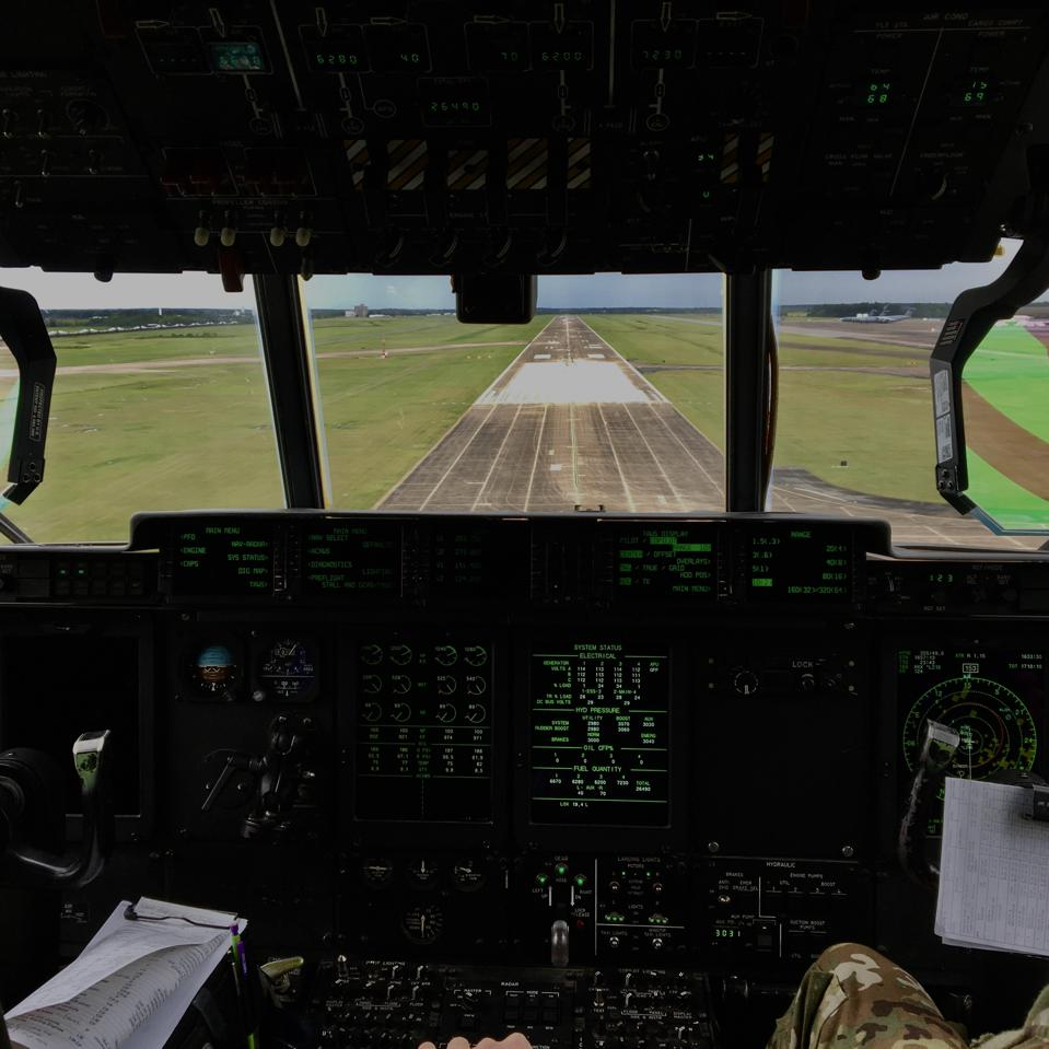 Landing in the C-130.