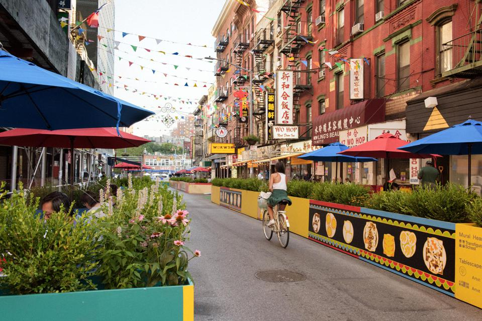 outdoor dining in street in chinatown