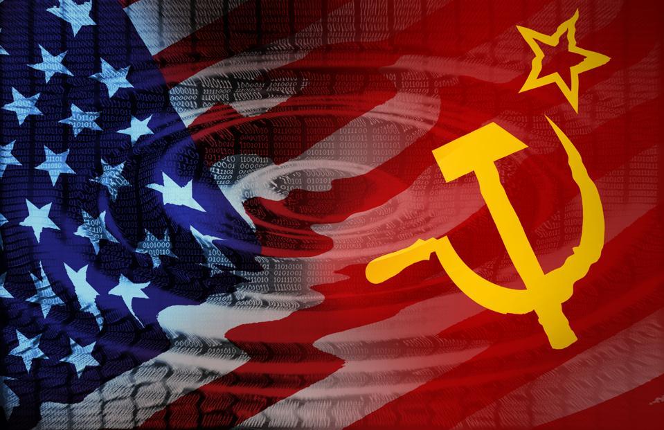 Data Lines Ripple With US Soviet Flag