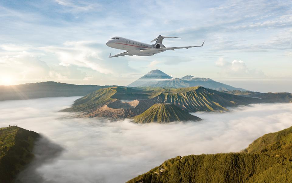 Jet flying over mountains