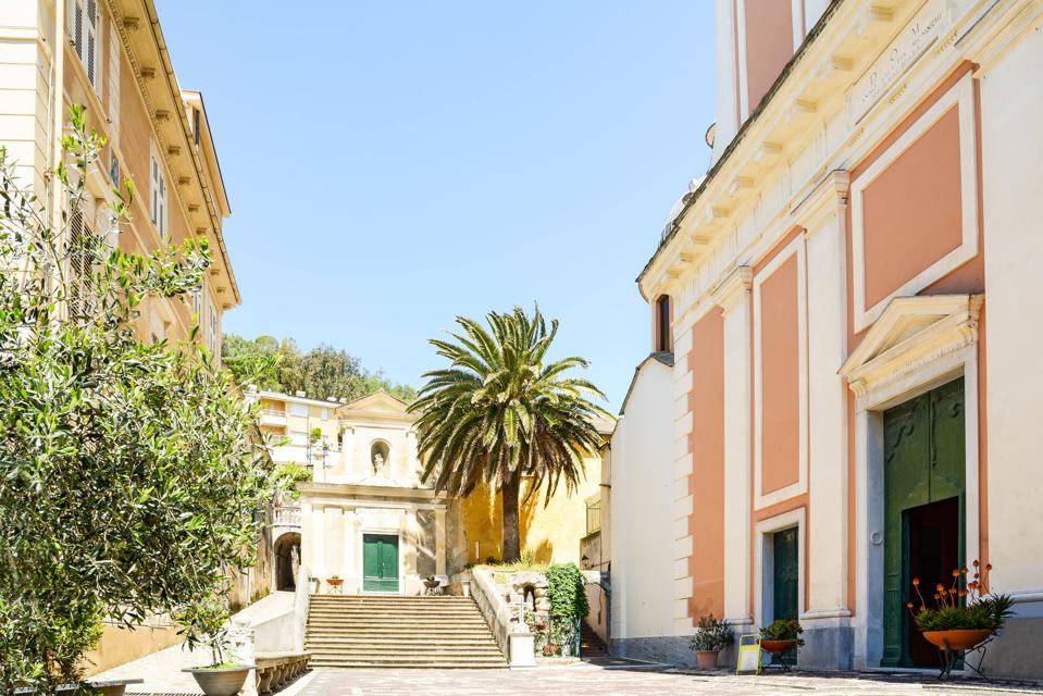 Old town of Moneglia with catholic church Oratorio dei disciplinati and chapel of Santa Croce, Genoa Liguria Italy