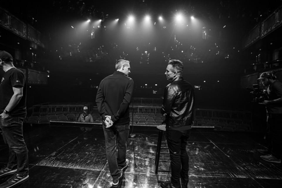 Comedians Pat McGann (left center) and Sebastian Maniscalco (right center) on stage during soundcheck prior to taping of the new Comedy Dynamics special 'Sebastian Maniscalco Presents Pat McGann When's Mom Gonna Be Home?' September 2019 at the Vic Theatre in Chicago, IL (Photo by Todd Rosenberg)