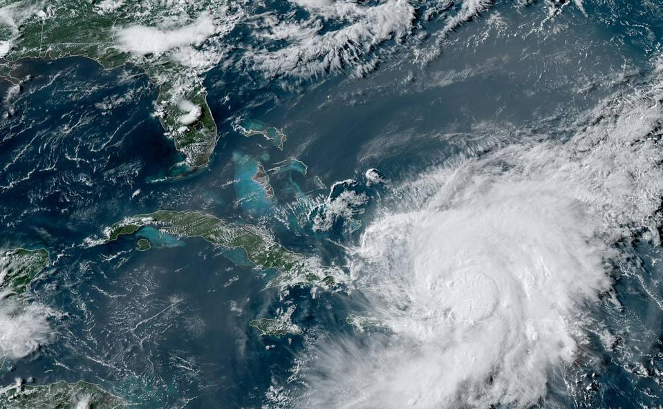 A satellite image of Tropical Storm Isaias on July 30, 2020.