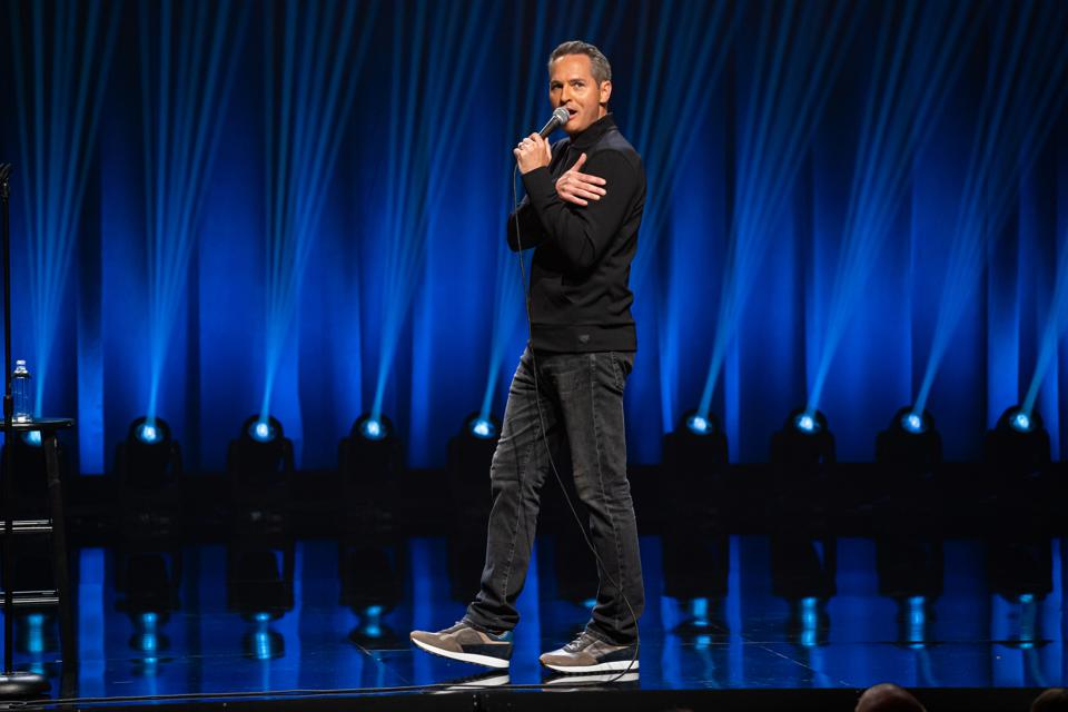 Comedian Pat McGann performs on stage at the Vic Theatre during taping of the Comedy Dynamics special 'Sebastian Maniscalco Presents Pat McGann When's Mom Gonna Be Home?' September 2019 in Chicago, IL (Photo by Todd Rosenberg)