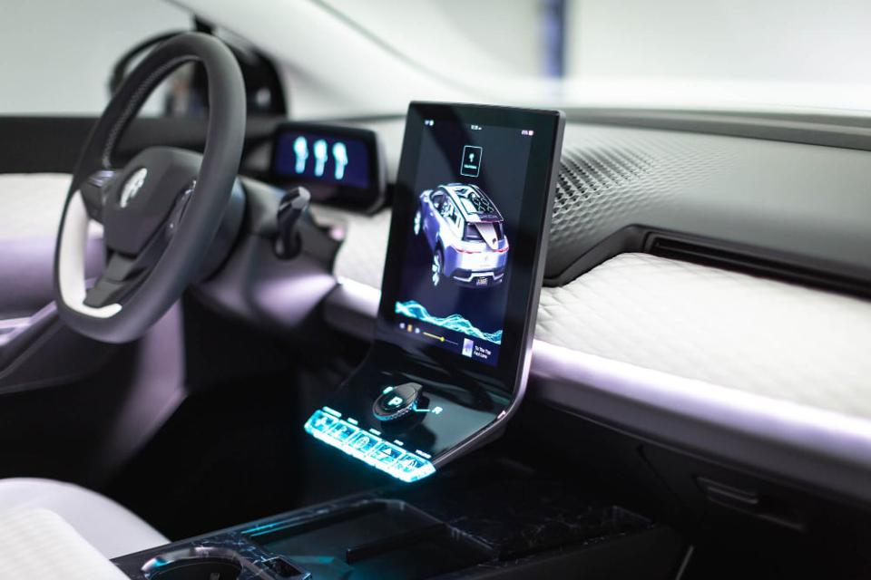 The Fisker Ocean electric SUV interior, with a large touchscreen.