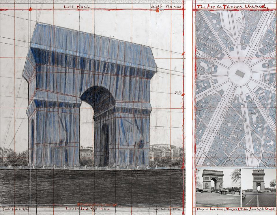 Christo. The Arc de Triumph (Project for Paris, Place de l'Etoile – Charles de Gaulle). Wrapped Collage 2018 in two parts. 12 x 30 1/2″ and 26 1/4 x 30 1/2″ (30.5 x 77.5 cm and 66.7 x 77.5 cm). Pencil, charcoal, wax crayon, fabric, twine, enamel paint, photograph by Wolfgang Volz, hand-drawn map and tape. Photo: André Grossmann. © 2018 Christo