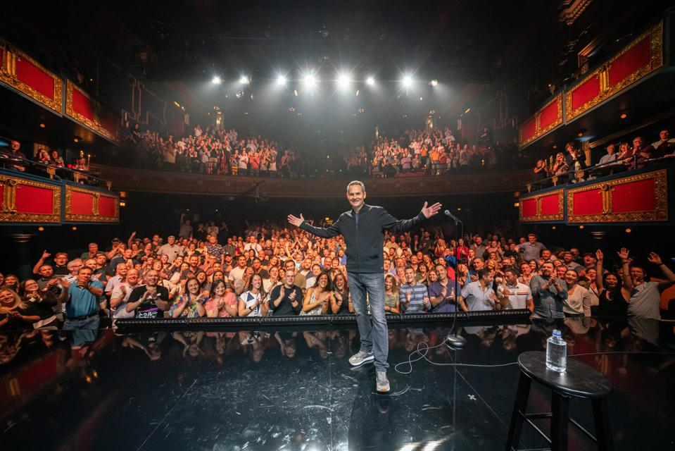 Comedian Pat McGann poses on stage at the Vic Theatre following taping of the Comedy Dynamics special 'Sebastian Maniscalco Presents Pat McGann When's Mom Gonna Be Home?' September 2019 in Chicago, IL (Photo by Todd Rosenberg)