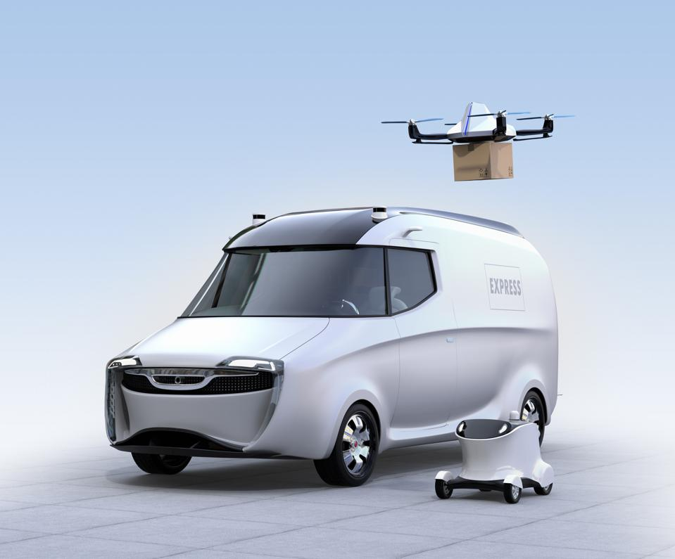 Self-driving van, drone and robot