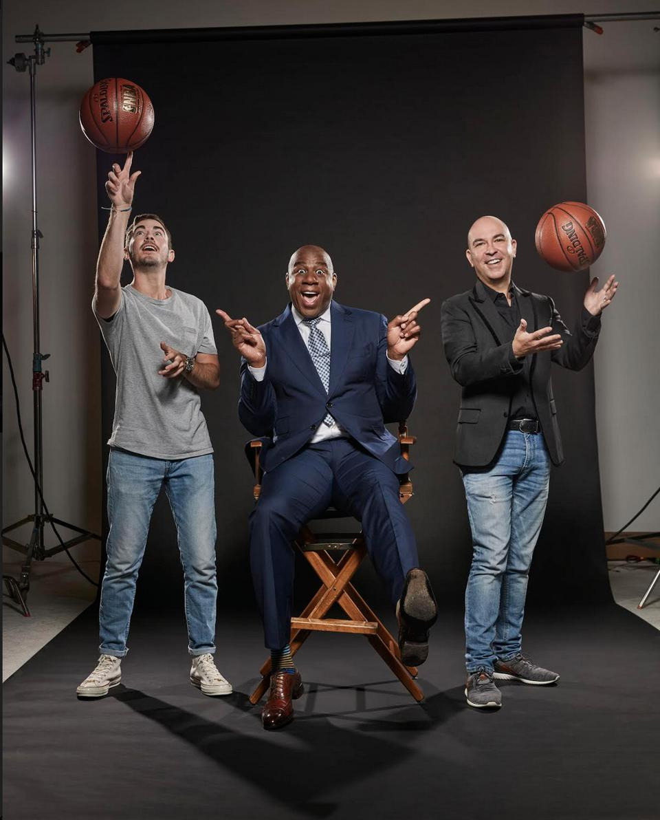 Garrett Greller, Magic Johnson & Bruno Schiavi (L-R)