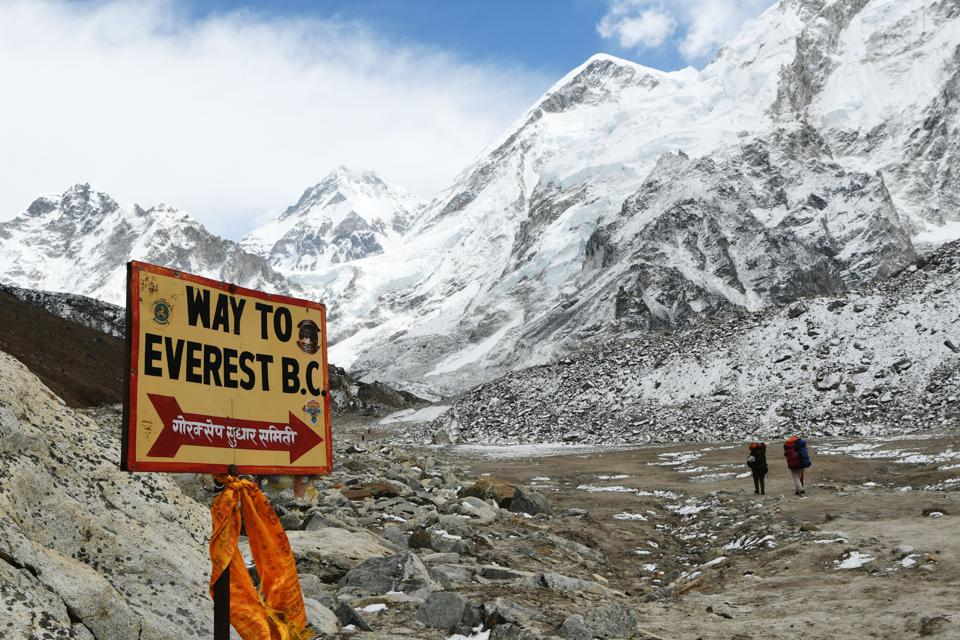 sign in the mountains in Nepal