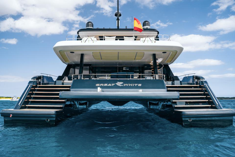 The large sundeck and huge aft deck are just two features that make Rafael Nadal's new Sunreef 80 catamaran special.
