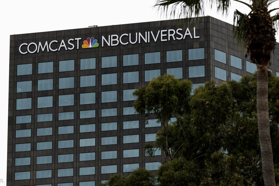 A view of the Comcast NBCUniversal building in Universal...