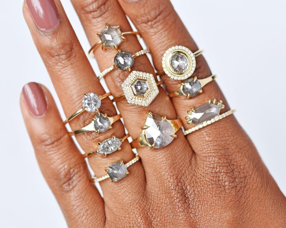 Grey diamond rings by US designer Valerie Madison