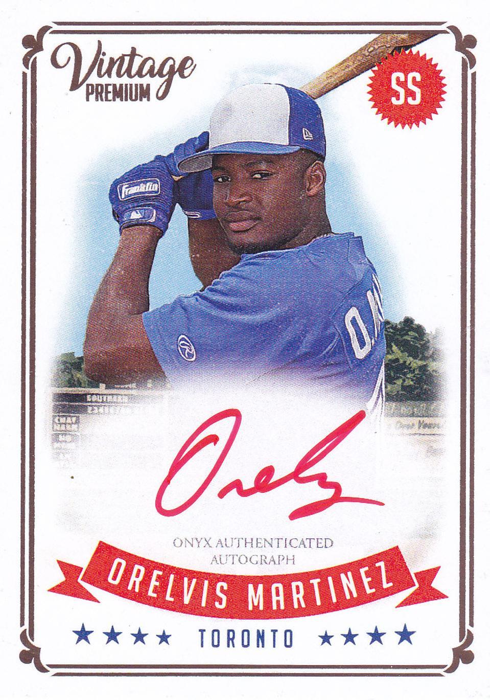2020 Onyx Authenticated Vintage Premium Baseball Orelvis Martinez Red Autograph