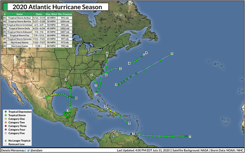 A map of all the storms in the 2020 Atlantic hurricane season through July 31, 2020.