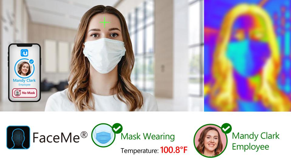 A screenshot photo showing a demonstration of how the FaceMe Health mask detection and temperature-checking software works.