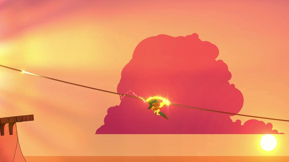 A girl descends down a rope with the help of a glowing tool in front of a pink sunset