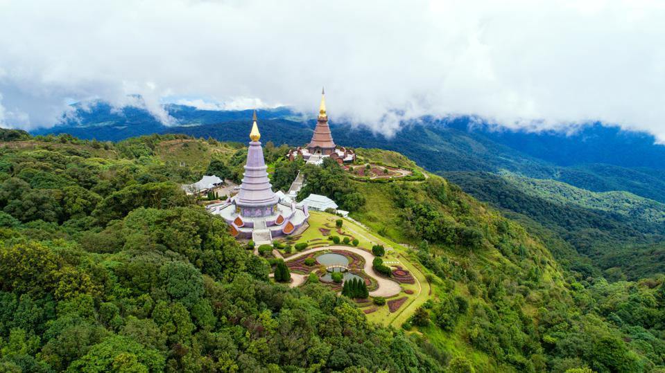 Phra Mahathat Naphamethanidon and Phra Mahathat Naphaphon Phum Siri at Doi Inthanon, Thailand. These two stupas are dedicated to the recently late king and his wife.