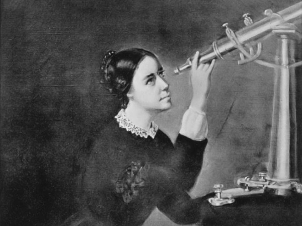 Black and white painting of young Maria Mitchell in a black dress sitting at a telescope.