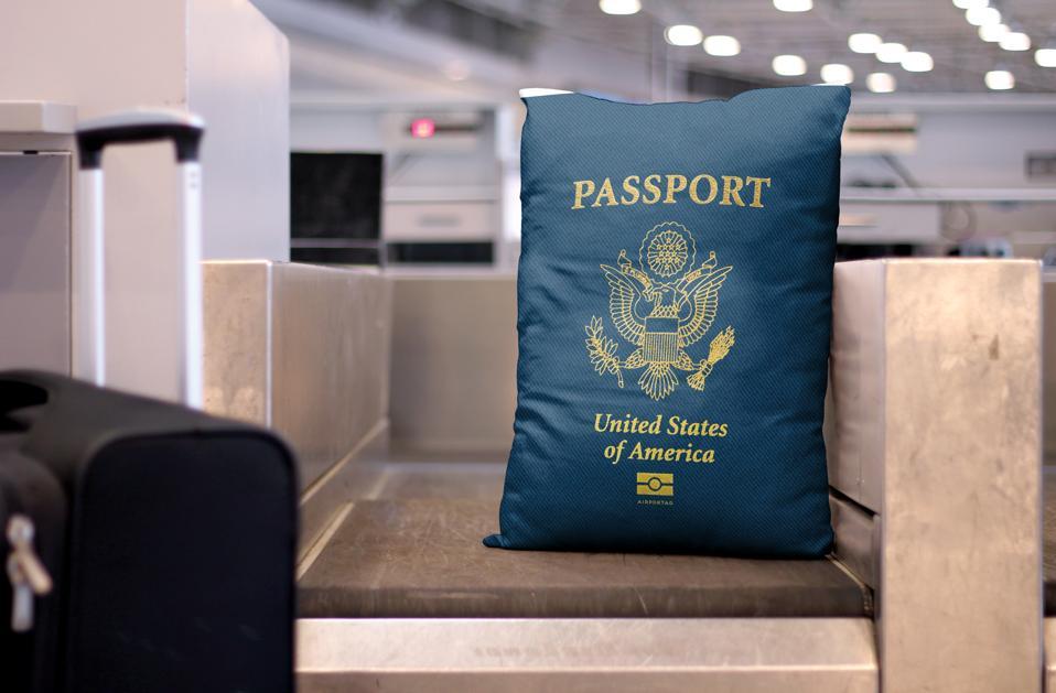 Passport pillow for USA home decor