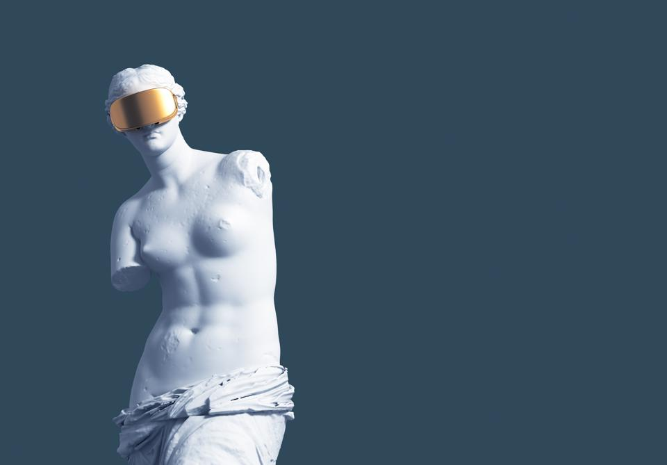 3D Model Aphrodite With Golden Virtual Reality Glasses On Blue Background. Concept Of Art And Virtual Reality.