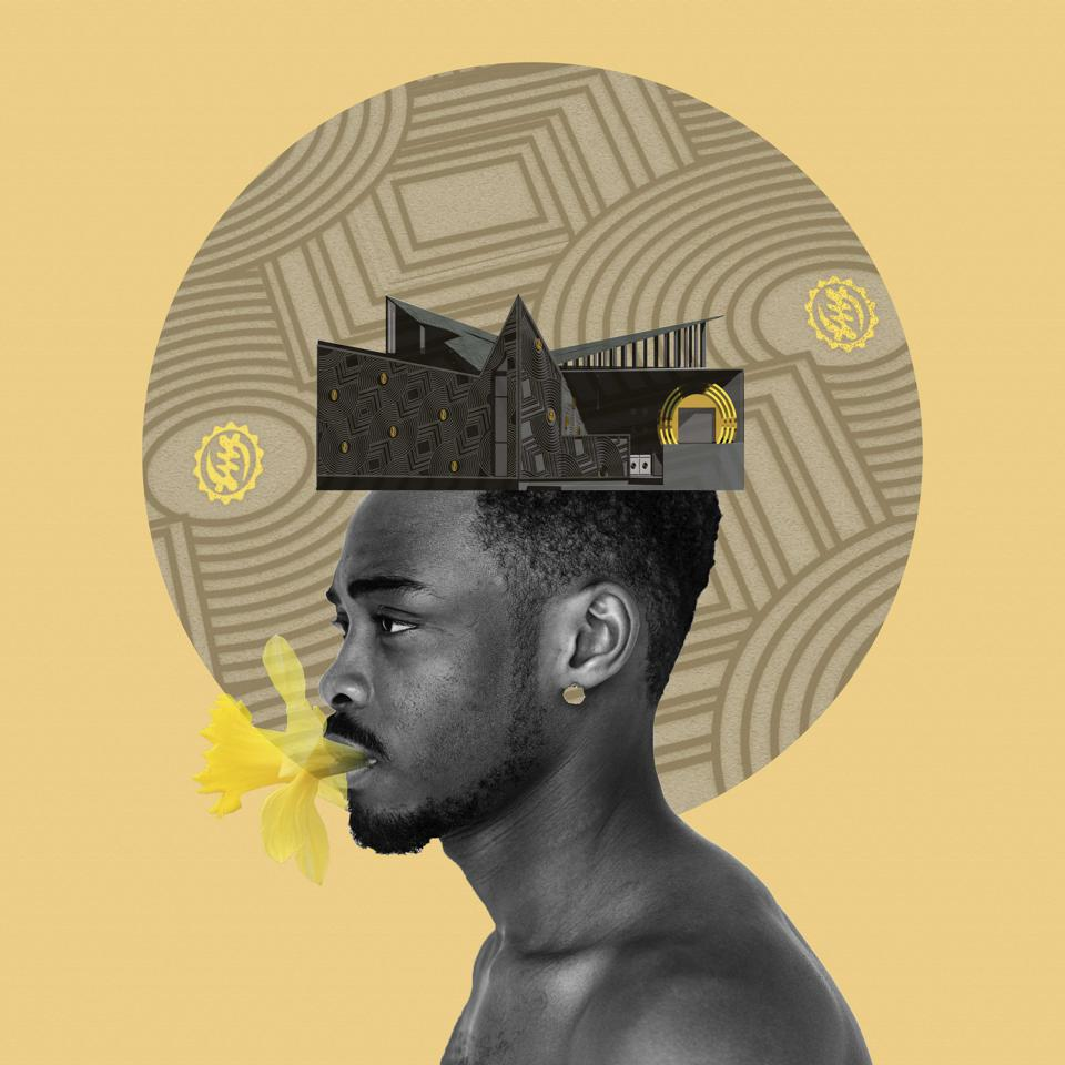 man with house on head like crown