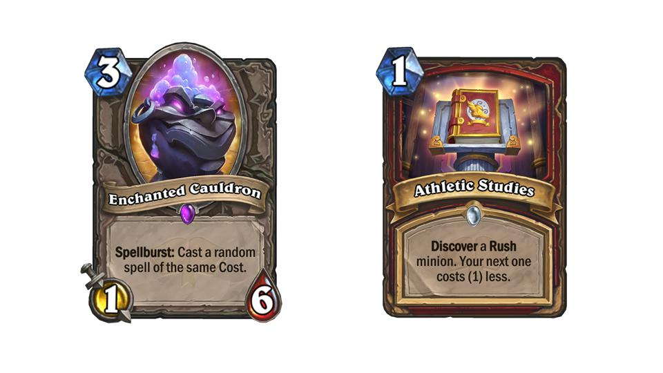 Examples of Spellburst and Studies cards from Hearthstone: Scholomance Academy.