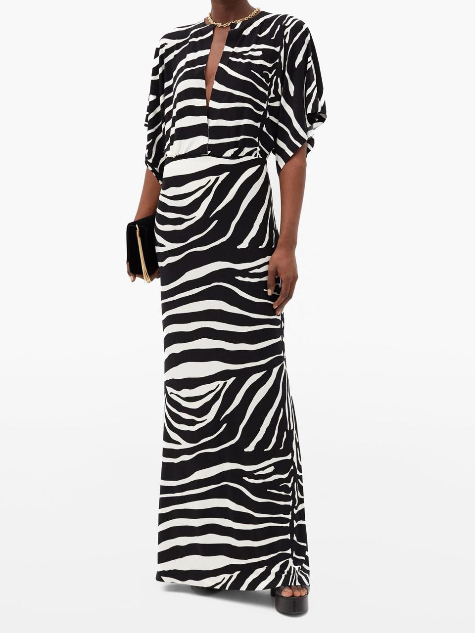 Waterfall-sleeve zebra-print maxi dress