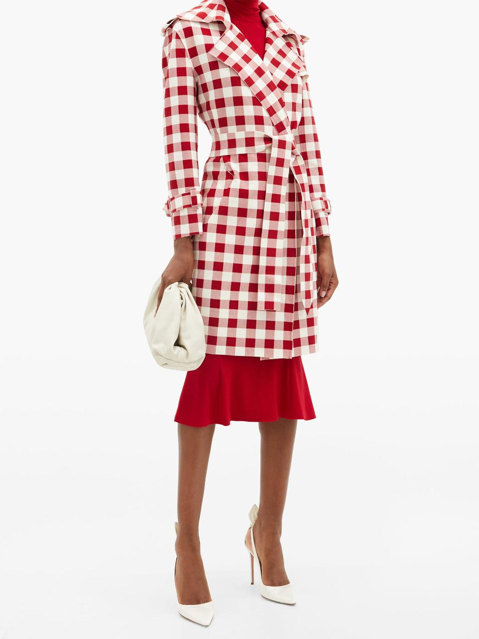 Double-breasted gingham trench coat