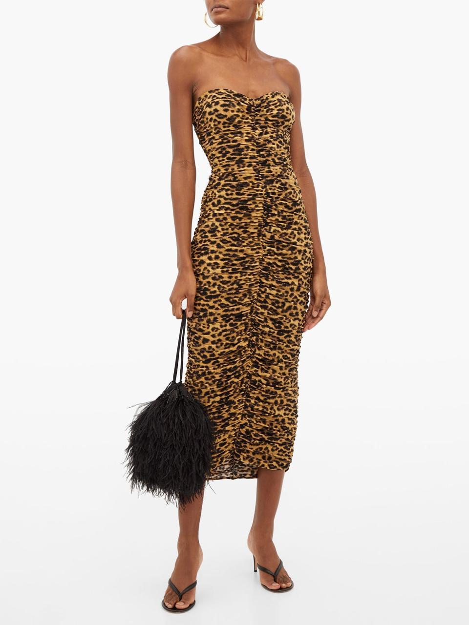 Leopard-print ruched bandeau jersey midi dress