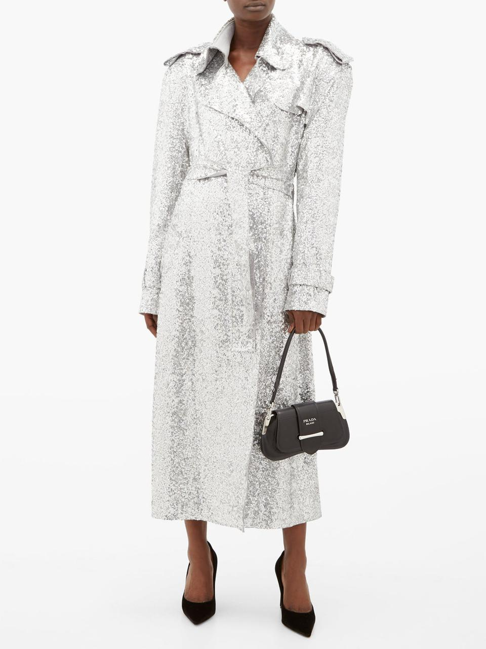 Sequinned double-breasted trench coat