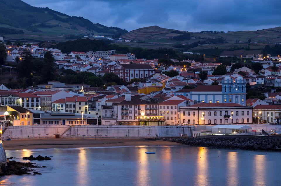Night scene on the Island Ilhas Terceira part of the Azores Islands Portugal