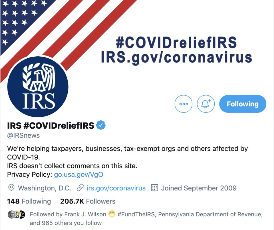 IRS Twitter account