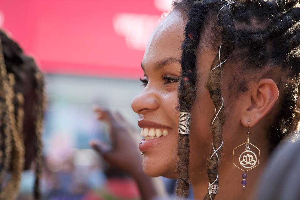 Warriors in the Garden's Liva Rose Johnson during March for Black Womxn on July 26, 2020, in New York's Times Square.