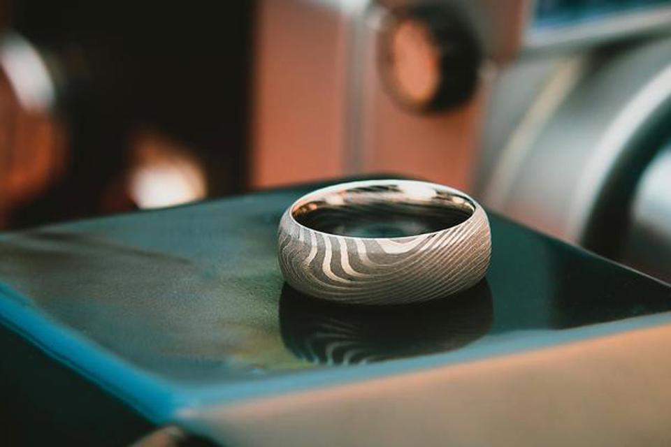 The Adonis, a men's ring made of Damascus Steel for guys who aren't afraid to show off their style