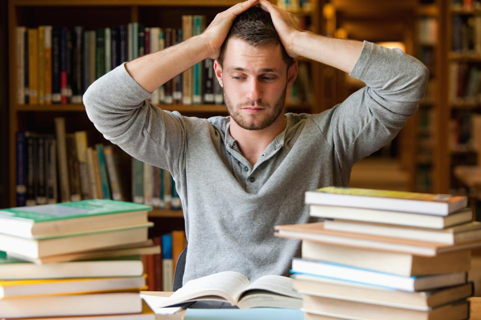 Tired student having too much to do is a good metaphor for frustrated learning.
