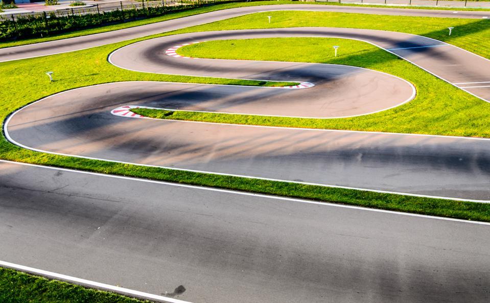 Motor circuit racetrack stock photo