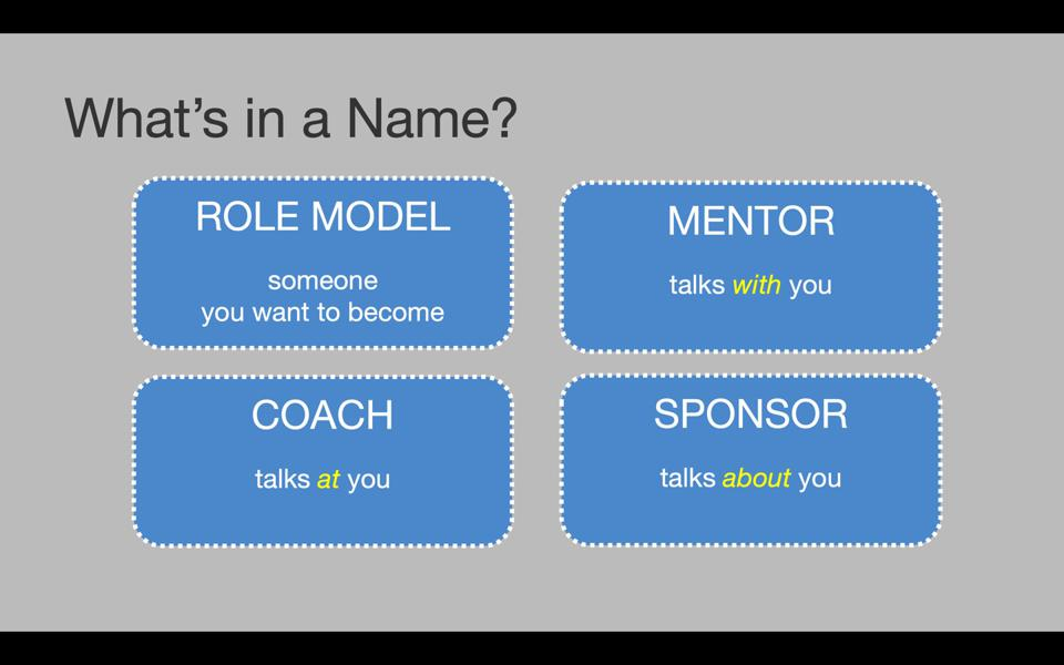 You should have a role model, mentor coach, and sponsor. Slide from Dr. Ruth Gotian's presentation.