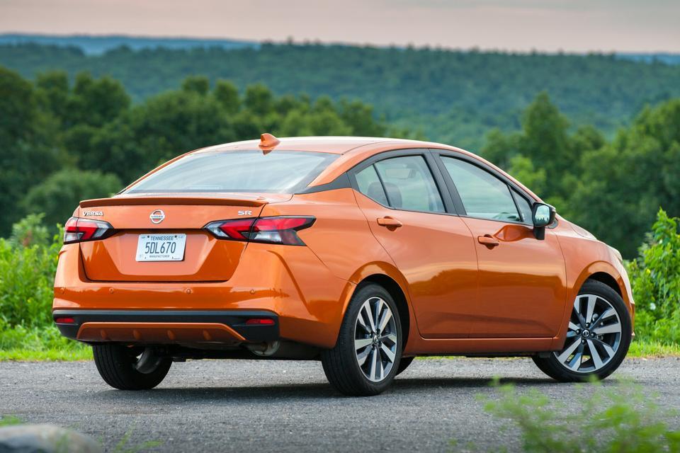 2020 Nissan Versa SR rear view in Monarch Orange Metallic