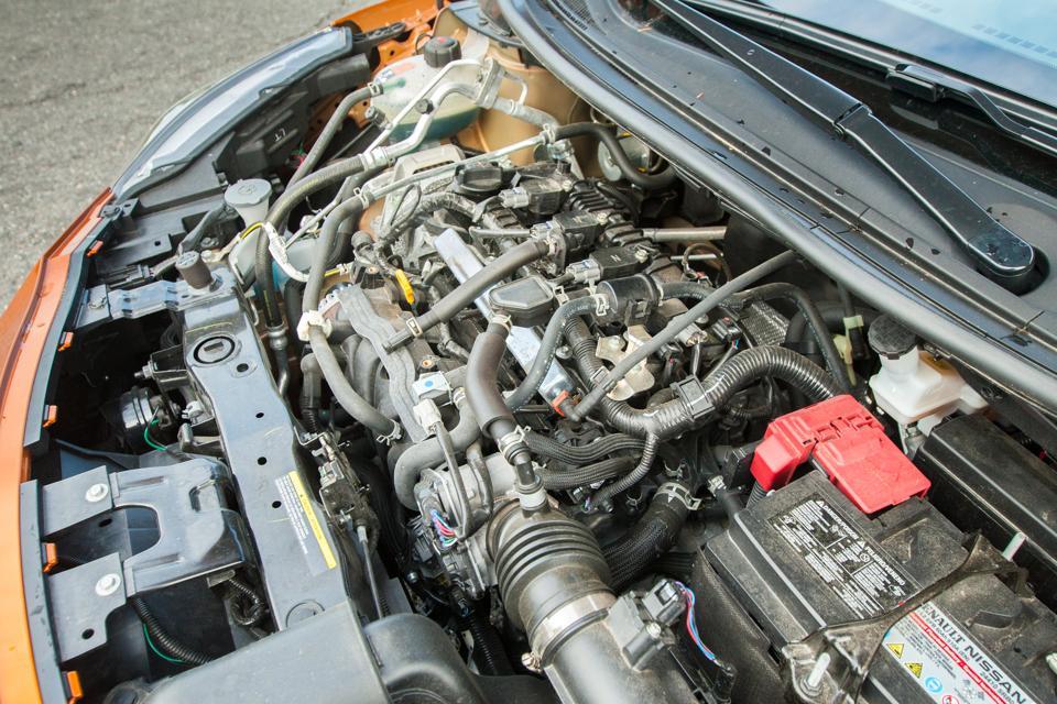 Underhood view of 2020 Nissan Versa showing engine