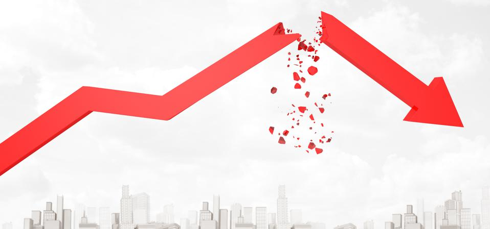 3d rendering of red broken financial diagram arrow on white city skyscrapers background