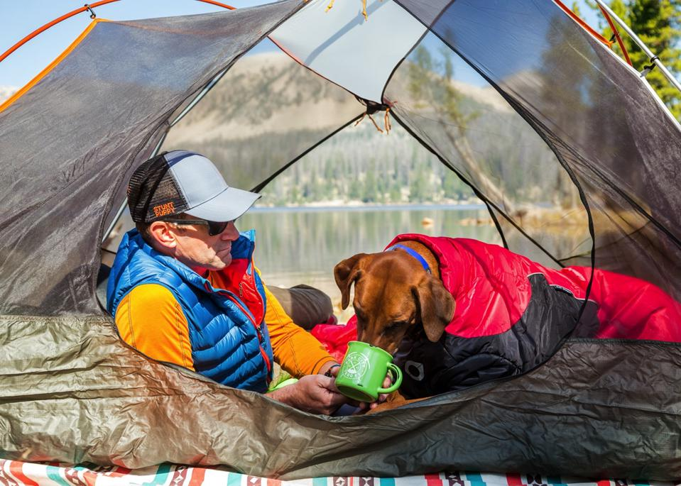 Camping with a dog.