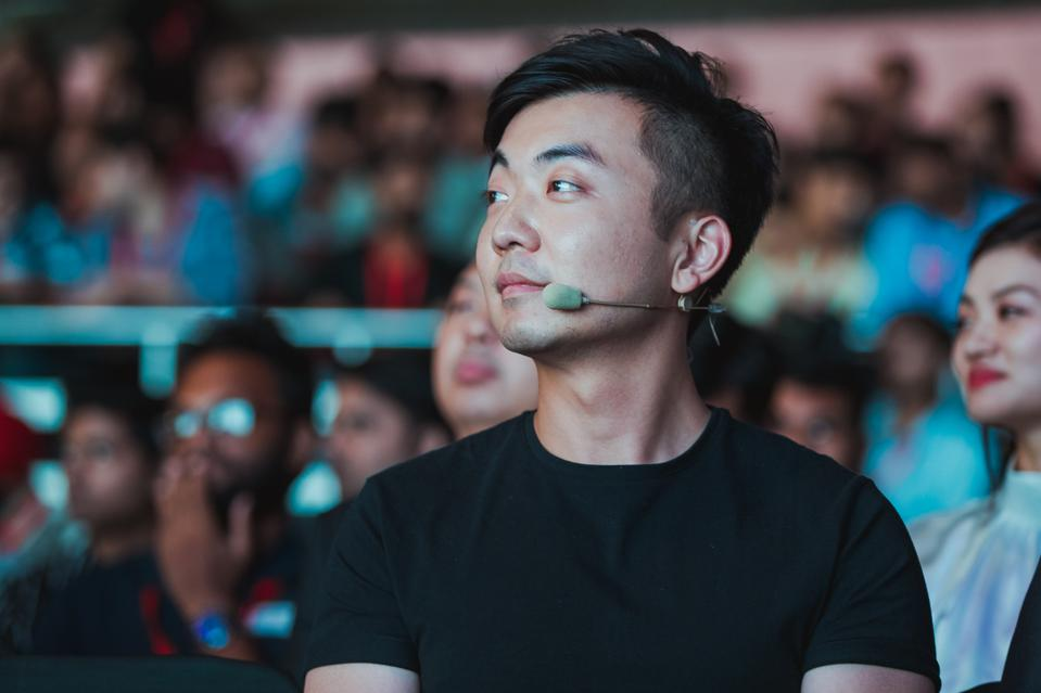 Carl Pei, cofounder of OnePlus, at a company launch event.