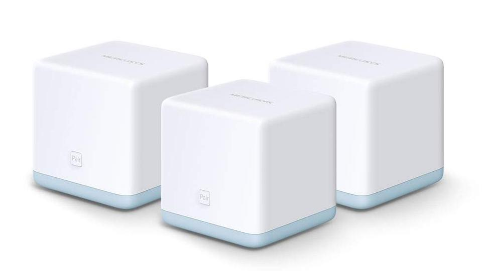 Three Mercusys Halo S12 mesh networking access points