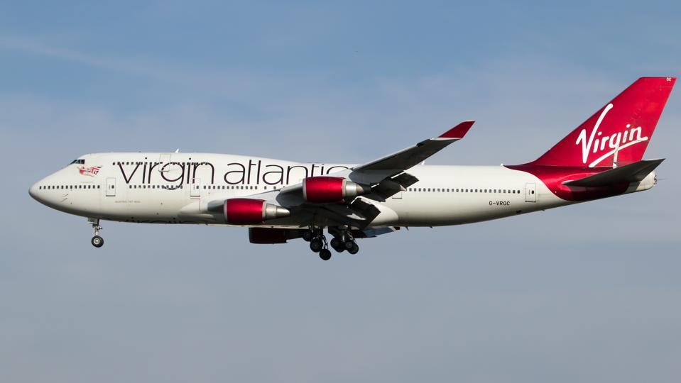 Virgin Atlantic Boeing 747-400 landing at London Heathrow...