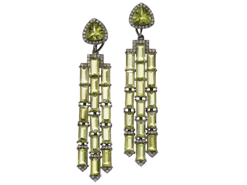 Graziela earrings in 18K gold with dark rhodium, peridot, and diamond, $9,650, grazielagems.com
