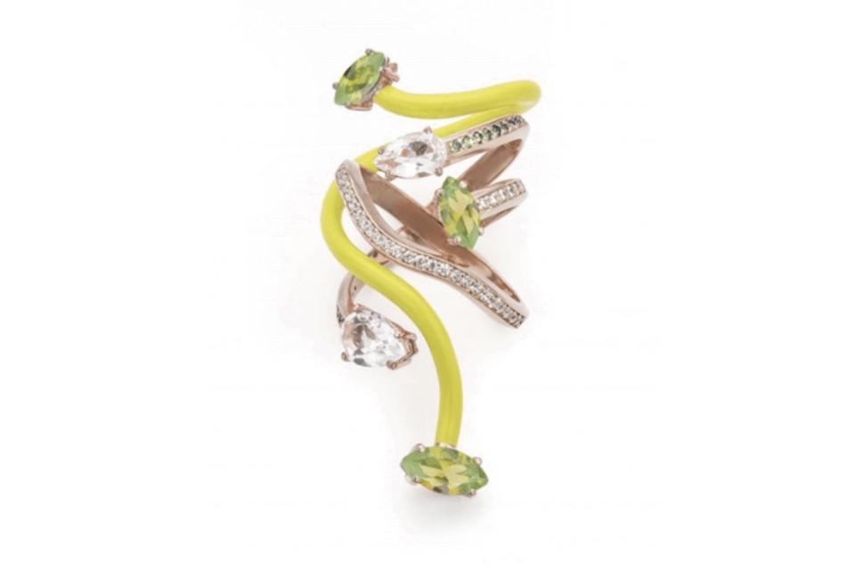 Bea Bongascia Vine Wrapped ring in 9K rose gold with yellow enameled vine, peridot, rock crystal, white diamond, and tsavorite, $3,500, beabongiasca.com
