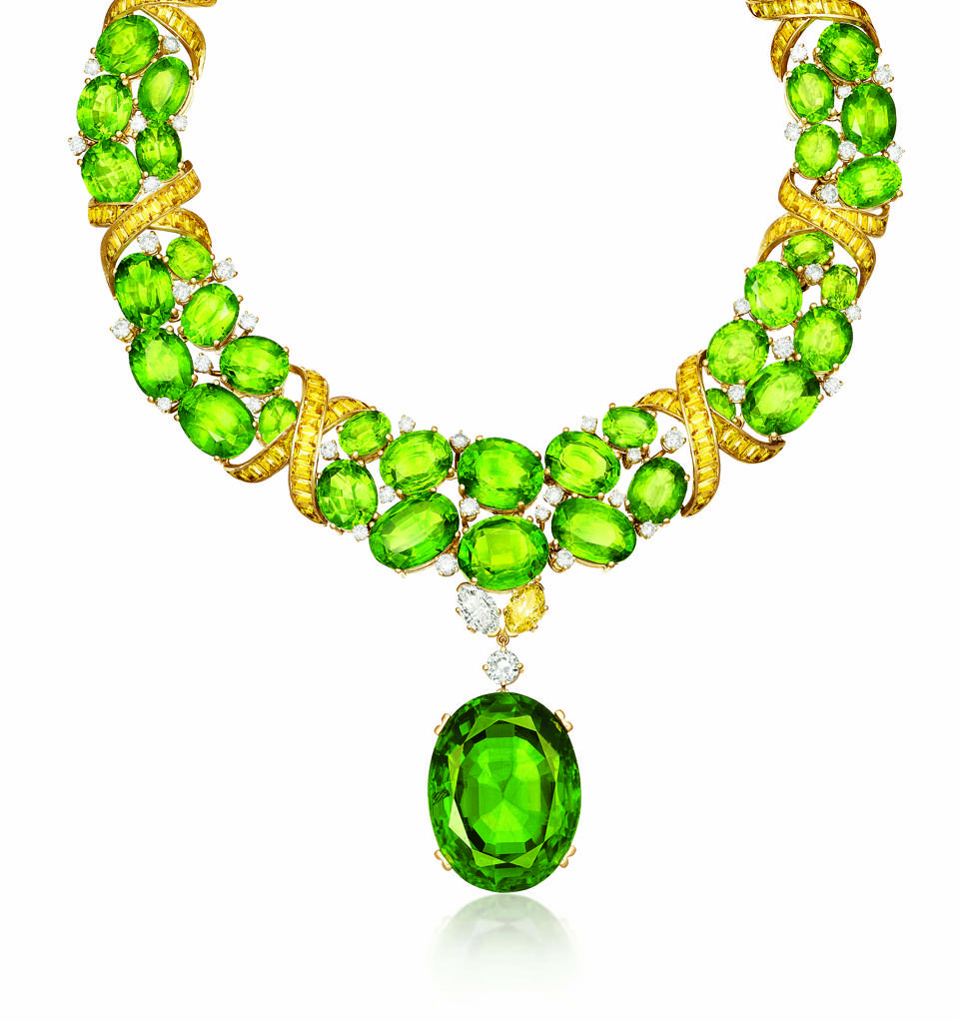 Verdura X necklace in 18K yellow gold and platinum with peridot, yellow sapphire, yellow diamond, and white diamond, price on request, verdura.com