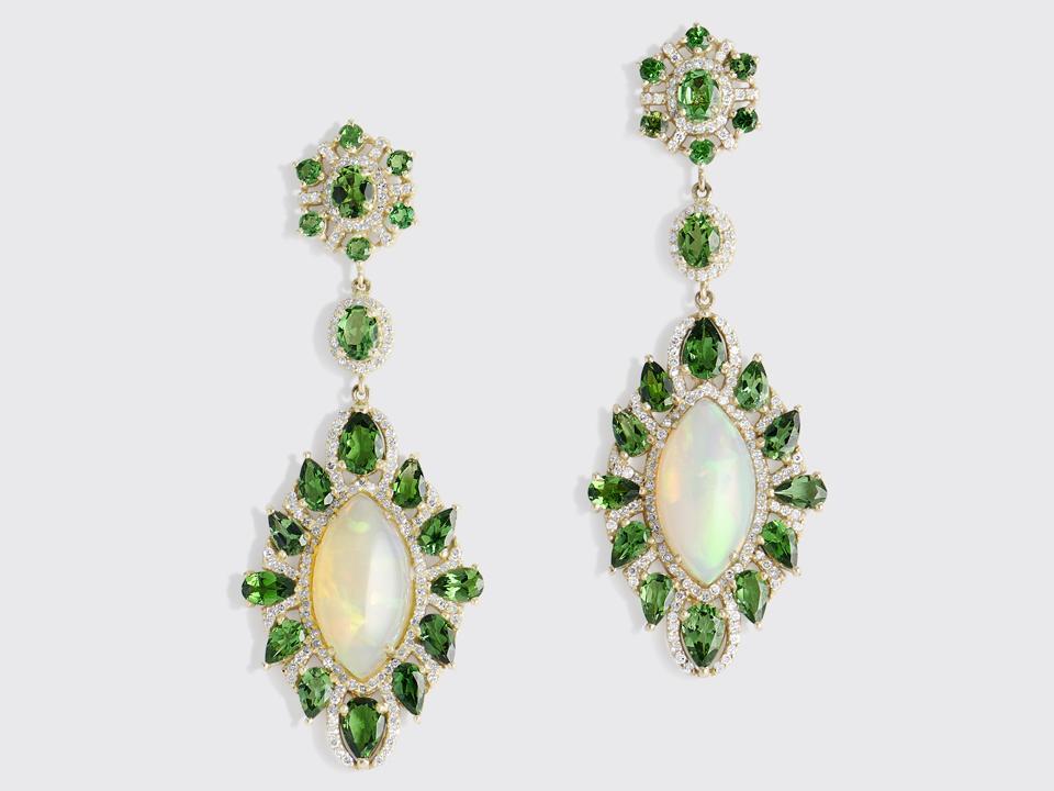 Sanjay Kasliwal earrings in 18K gold with opal and diamond, $13,500, sanjaykasliwal.com